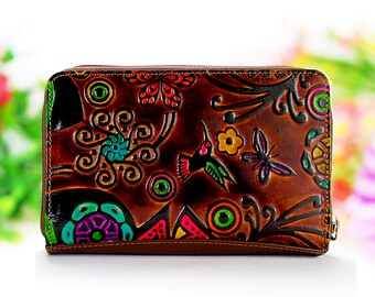 Wallet woman, zipper wallet, clutch wallet, leather woman wallets embossed and handpainted with beautiful figures and flowers