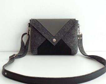 Dark Gray Black Wool Felt Genuine Leather Crossbody Bag