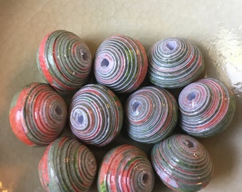 "Peach and Sage Hand Rolled Paper Beads Chunky Saucer 1/2"": Set of 10"