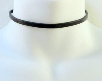 Black Choker, Thin Black Leather Choker Necklace, High Quality Italian Leather Choker for Women, Flat Leather Strap Black Collar Necklace