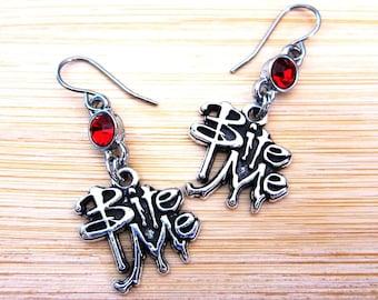 Bite Me Gothic Vampire Earrings Ruby Red Glass Rhinestones