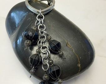 Black Purse Charm, Beaded Purse Keychain, Key Chain Clip, Key Charms, Key Chains for Women, Gift for Her, Women's Gifts,  One of a Kind
