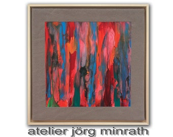 Abstract paintings - contemporary original - tree painting on wooden frame - 53.5 x 53.5 x 3,5 cm - incl. shadow gap frame - unique