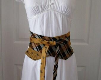 OOAK Orange and Black Womens Obi Belt Upcycled from Men's Neckties