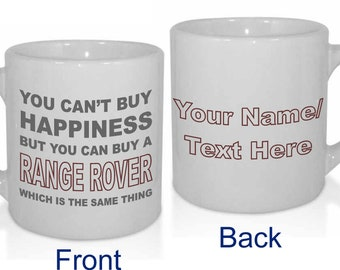 Happiness Range Rover Personalised Car Lover Cars Enthusiast Mug - Personalised with a message.