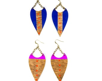 Selene Earrings/ Large Wood Lasercut Shapes/ Painted Bright Colors/ Polka Dots/ Dipped Colors