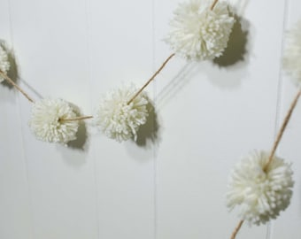 "Ivory Pom Pom Garland on Jute Twine *~* Wedding Garland  (23)  2 inch Pom Poms  *~* Pom Banner *~*  Cream Pompom Streamer 120"" long"
