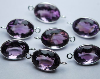925 Sterling Silver,Natural PINK AMETHYST Faceted Oval Shape Connector,10 Piece of 21mm