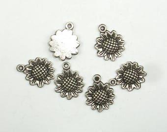 Sunflower Charms, Zinc Alloy, Antique Silver Tone, 12x16 mm, 30 pcs, Hole 1.2mm (006873085)