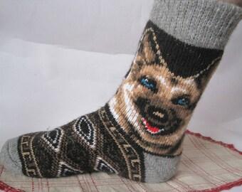 Dog breed Sheepdog Knit Pattern Nordiс Men socks of high qеuality Angora wool yarn EU-42-44/ US-9-10 Soft Warm