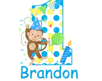 Little Monkey First Birthday Digital Download for iron-ons, heat transfer, Scrapbooking, Cards, Tags, Signs, DIY, YOU PRINT