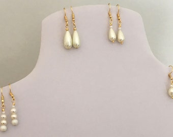 Faux Pearl Earrings with Gold Plated Earring Wires and Findings