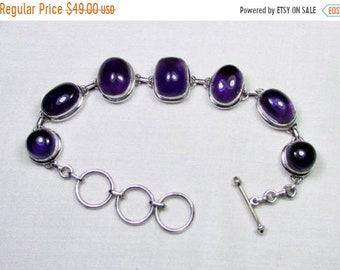 ON SALE Naturel Amethyst Gemstone with Solid 925 Sterling Silver Jewelry Bracelet