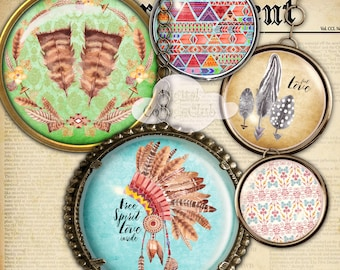 Boho Love 2.5 Inch Circles Digital Collage Sheet Jewellery Scrapbooking Cupcake Toppers Round Circle Images fo jewelry Making