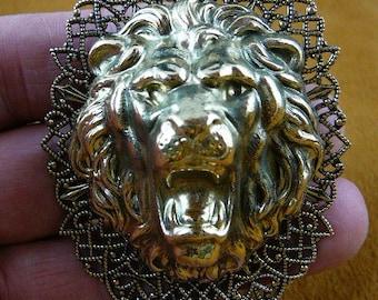 Roaring lion head lions love Victorian repro filigree brass pin pendant B-Lion-612