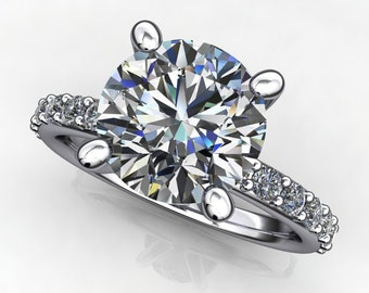shay ring - 2 carat NEO moissanite engagement ring, diamond cut round moissanite
