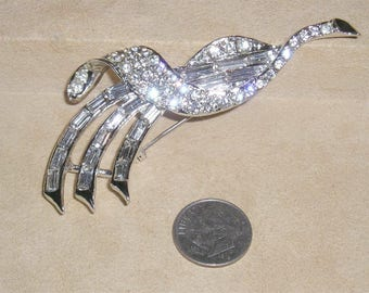 Vintage Signed Top (Weiss) Rhodium Plated Brooch With Rhinestones Baguettes Late 1950's Jewelry 11043