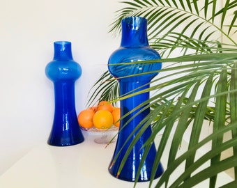 Two Vintage Cobalt Blue Vases