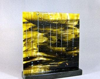 Art Glass Sculpture Abstract Dichroic Meteor Shower Artist Signed