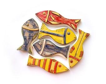 Wall art fish, Fish sculpture, Colorful ceramic fish, Fish collection, Set of 6 fish, Beach house fish decor, Lake house fish decor
