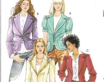 LINED JACKETS w/Front/Sleeve/Pocket Variations McCall's Pattern 5189 Misses Sizes 6 8 10 12