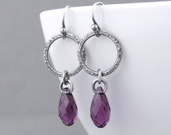 Amethyst Earrings Silver Jewelry Purple Crystal Earrings Silver Circle Earrings February Birthstone Jewelry Gift for Her - Annabelle