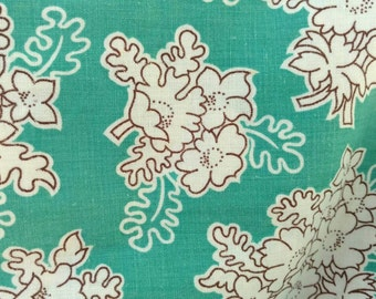 """Vintage Aqua Floral Feedsack - Antique Sewing Material in Aqua, Fabric Yardage, Large Piece of Antique Sewing + Home Decor Fabric, 46"""" X 22"""""""