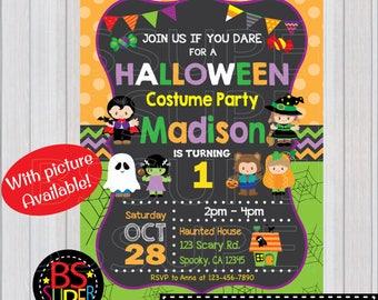 Halloween Invitation, Kids Halloween Birthday Party, Costume Party invitation, Not So Scary Halloween Party invite