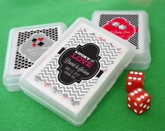 Custom Playing Cards Box Lucky in Love Wedding Bridal Shower Vegas Wedding Favors Casino Birthday Favors (EB2033Z) - set of 12| decks