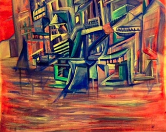Original painting abstract art oil on canvas city landscape colours abstract unique shaman artwork gift decoration purple blue artwork