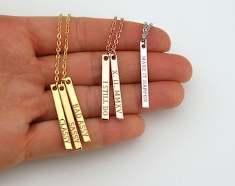 Mom necklace, Baby name necklace, Vertical bar necklace, Engraved Personalized necklace, Custom Baby name necklace Mothers day gift for mom