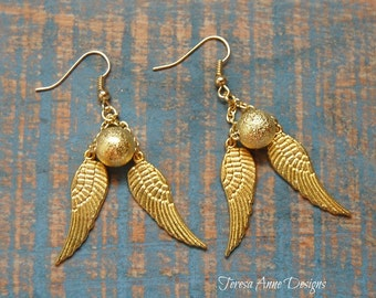 Gold Stardust Bead and Angel Wing Earrings