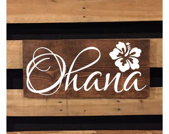 Ohana Sign | Wood Sign | Beach Sign | Rustic Sign | Beach Decor | Family | Hawaiian Decor | Hibiscus Flower | Beach House Decor | 22440