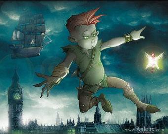 Peter Pan (tableau unique sur bois)