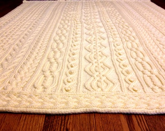 Knitting Pattern: Twisty Celtic Aran Afghan, Fisherman, Cables
