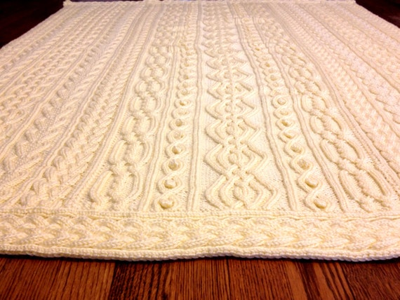Knitting Pattern Twisty Celtic Aran Afghan Fisherman Cables From