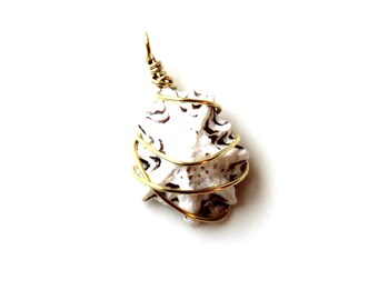 gold wrapped Limpet seashell pendant.  Sterling wrapped limpet seashell pendant. unisex gift.  black and white.