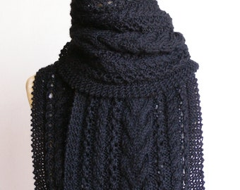 Pure Wool Hand Knitted Cable & Eyelet Scarf - 'Tatiana' - choose your colour.