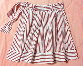 Red Striped Skirt, Red and White Striped Skirt, A Line Skirt, Red Striped A Line Skirt, Vintage Red Striped Skirt, Candy Striped Skirt
