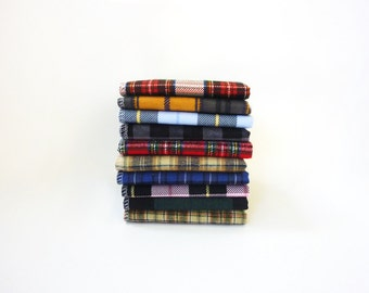 Mens Handkerchief Set - 10 Mixed Plaid Hankies Sampler - Gift for Men - Fathers Day Gift - Soft Reusable Tissues - Eco Friendly - Paperless
