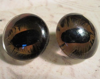 "Pair of Large Vintage GLASS Eyes for DOLLS or BEARS*craft*sewing*repair*1-1/8"" across"