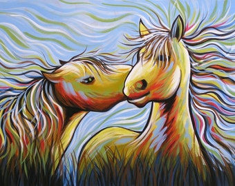 """Abstract horse art print ... Abstract horse Art ... Kisses, 8 1/2"""" x 11"""" Print of horse painting"""