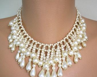 Vintage Pearl Choker, Vintage Bridal Necklace, Vintage Pearl Necklace, Great Gatsby, Roaring 20s, 1920s, Beaded, Fringed Choker, Pearl Drop