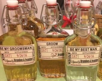 Liquor Flask with Label - Wedding Groomsman Liquor Bottle Flask - Craft Liquor Glass Bottles - Hinged Flask 500ml - 17oz bottle - Labels