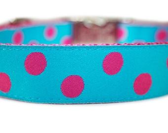"""Polka Dot Engraved Metal Buckle Dog Collar 1"""""""