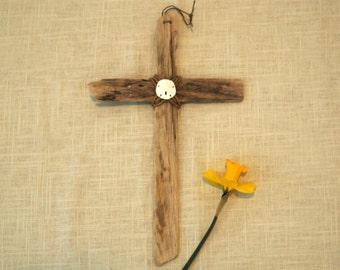 Driftwood Cross with Sand Dollar or Starfish, Wall Decor, Driftwood Ornament,  Christian Decor, Easter decor, Spring Decor