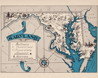 30s vintage maryland picture map