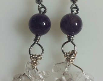 Clear Quartz with Amethyst Earrings
