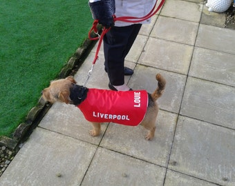 "Liverpool Personalised Dog Coat size Small 14"" ALL SIZES/ TEAMS available"