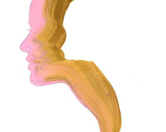 Pink & Gold print, from original gouache fashion illustration by Jessica Durrant